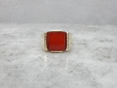 Mid-Century Modern Carnelian and Gold Men's Ring
