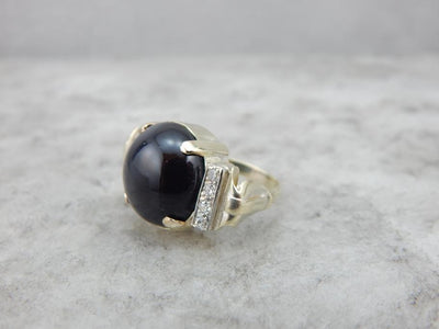Rare Cat's Eye Spectrolite and Green Gold Retro Era Cocktail Ring
