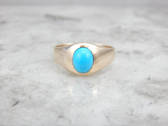 Simple and Polished Persian Turquoise and Gold Men's Ring