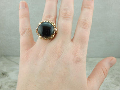 Vintage Tri Color Gold and Onyx Retro Era Cocktail Ring