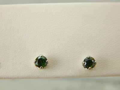 White Gold and Green Garnet Simple Stud Earrings