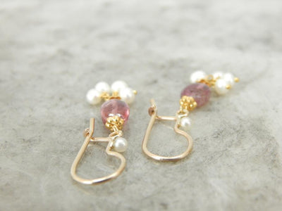 Pink Tourmaline and Pearl Drop Earrings