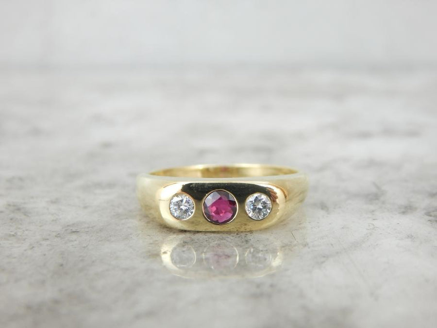 Ruby, Diamond and 18K Gold Flush Set, Unisex Ring