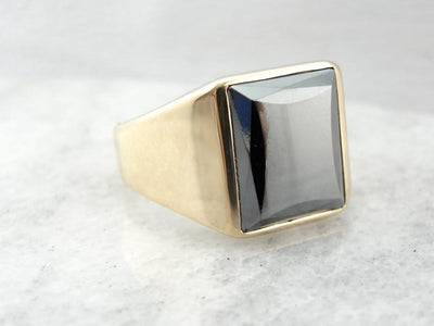 Vintage Hematite and Polished Gold Sleek Men's Ring