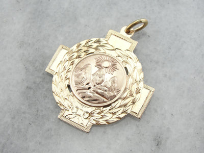 Handcrafted Pendant with Alpine Mountain Theme in Gold