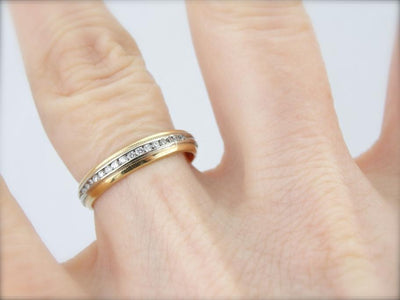 Polished Gold Band with Eye Catching Diamond Inlay