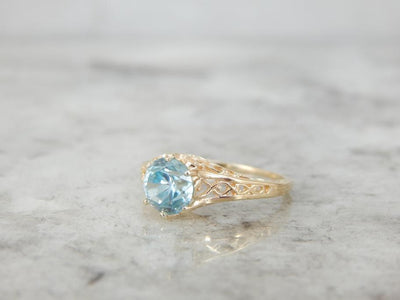 Blue Zircon and Gold Filigree Ladies Ring for Day or Night