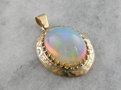 Ethiopian Opal Collection Gem in Antique Pendant