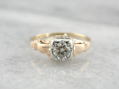 Rose & White Gold Diamond Engagement Ring from the 1930's