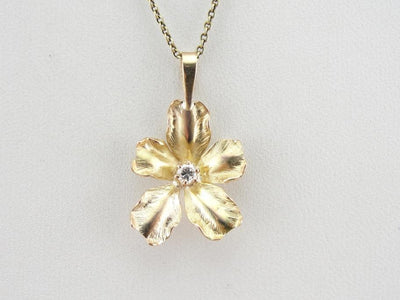 Detailed Petals & Bright Diamonds, Vintage Gold Pendant