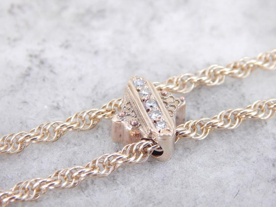 Victorian Lariat Watch Chain with Rose Cut Diamond Slide