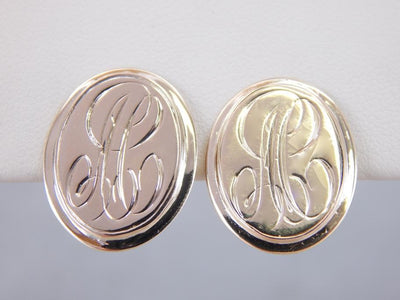 Handsome Monogramed Oval Earrings with Lovely Pattern
