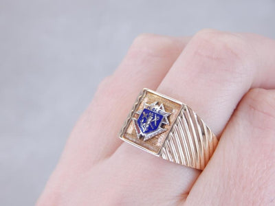 Vintage Knights of Columbus Enamel Crest Ring
