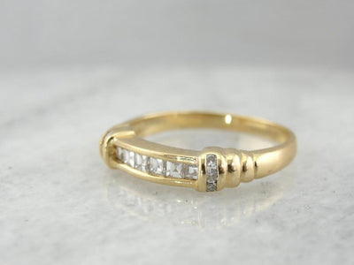 Square Cut Diamond Band with Inlaid Shoulders