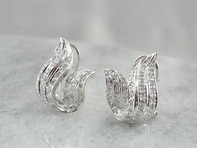 Beautiful Diamond and White Gold Flame Earrings