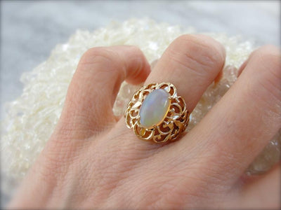Filigree Cocktail Ring with Ethiopian Opal Gemstone