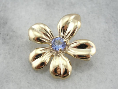 Polished Gold Tanzanite Flower Brooch