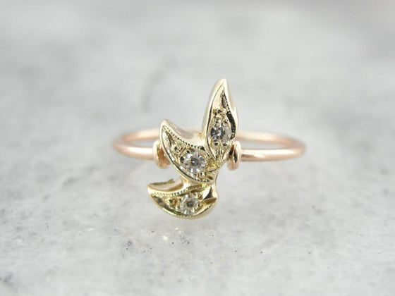 Green and Rose Gold Antique Ring with Diamond Leaves