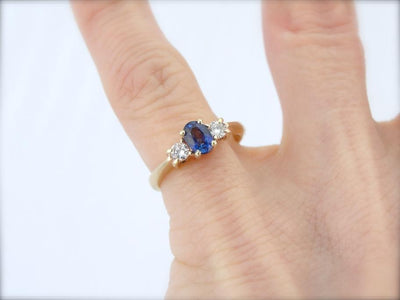 Perfect Blue Sapphire and Diamond Three Stone Ring for Any Occasion