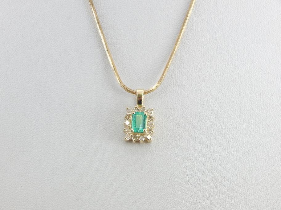 Colombian Emerald Gemstone Pendant with Divine Diamond Halo