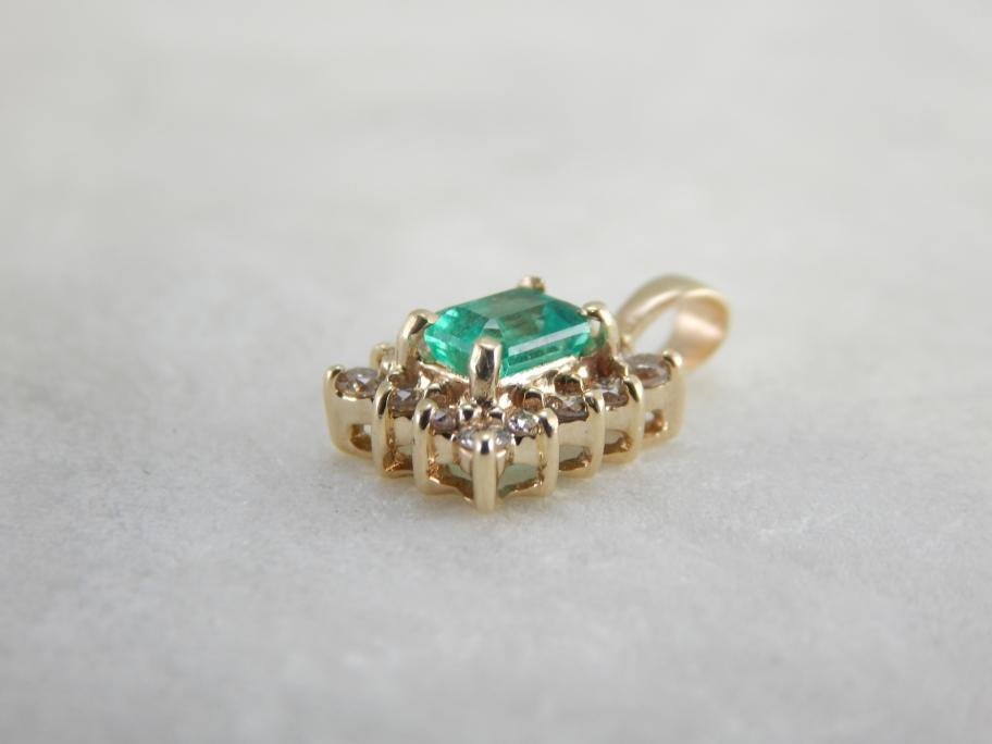 Lovely Emerald and Diamond Halo Pendant