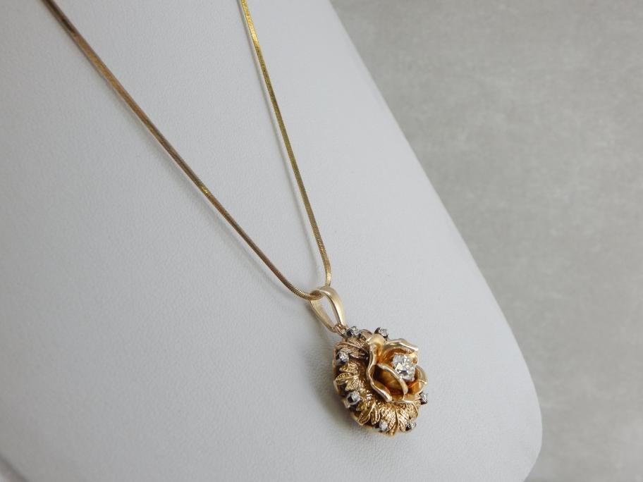 Stunning Gold Rose and Diamond Pendant