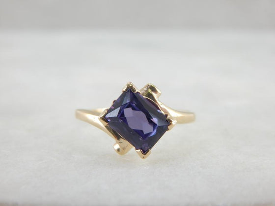 Small Synthetic Alexandrite Cocktail Ring in Gold