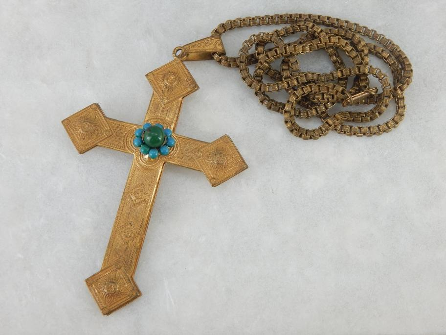 Vintage Miriam Haskell Cross and Chain