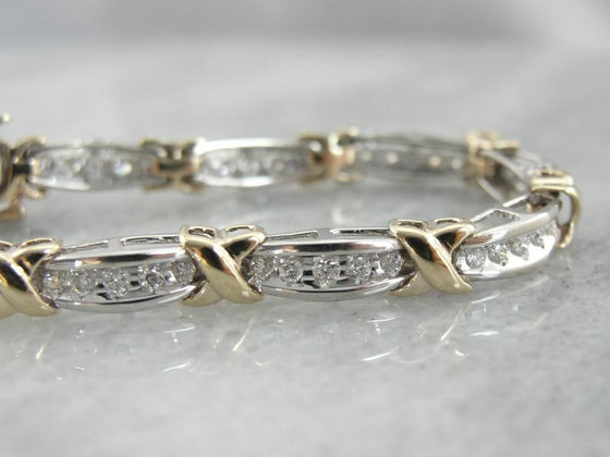 Bright Diamond Bracelet in Mixed Yellow and White Gold