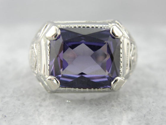 Color Change Alexandrite and White Gold Ring in Retro Era Unisex Style