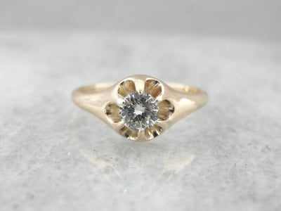 Vintage Diamond Buttercup Belcher Gold Ring