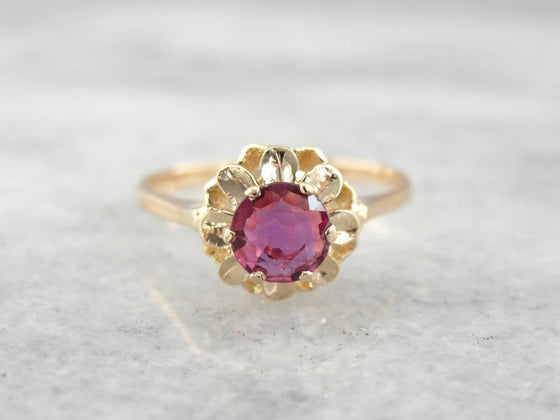 Radiant Ruby and Rose Gold Ladies Engagement Ring