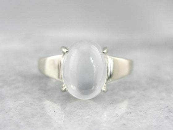 Modernist Moonstone, Gorgeous Ladies Cocktail Ring in White Gold