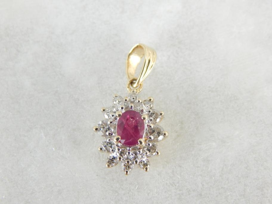 July Baby, Classic Ruby and Diamond Pendant
