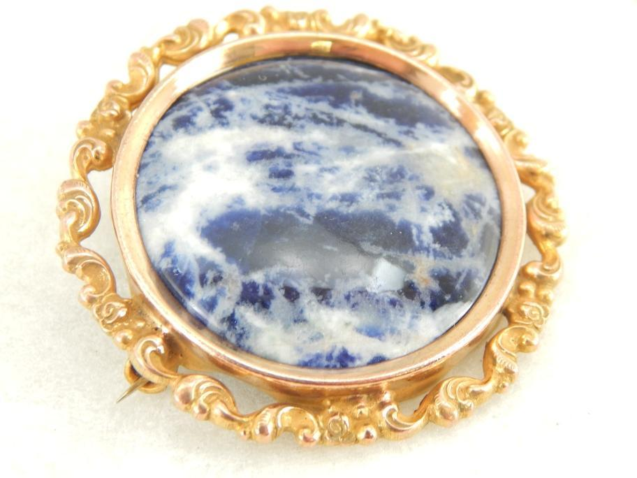 Antique Art Nouveau and Fine Sodalite Gemstone Brooch
