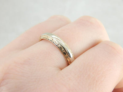 Handsome Edged Wedding Band in Yellow and White Gold