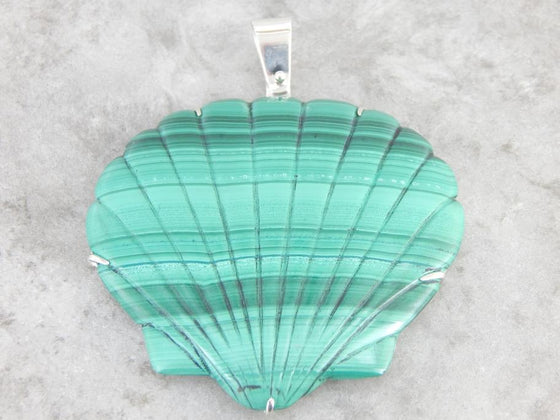 Large Malachite Carved Scallop Shell Pendant