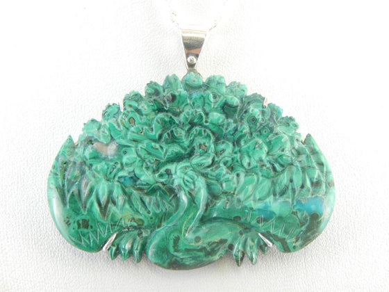 Unusual Carved Chrysocolla Peacock Pendant