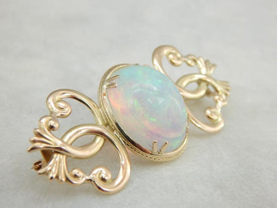 Ethiopian Opal of the Highest Quality and Gold Brooch