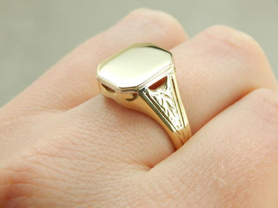 Green Gold 1900's Signet Ring wtih Restored Surface to Customize