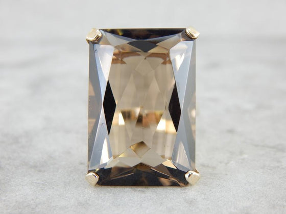 Smokey Quartz and Bright Gold Cocktail Ring from the 1960s