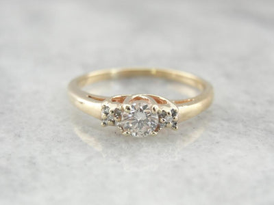 Modern Era Three Stone Diamond Engagement Ring