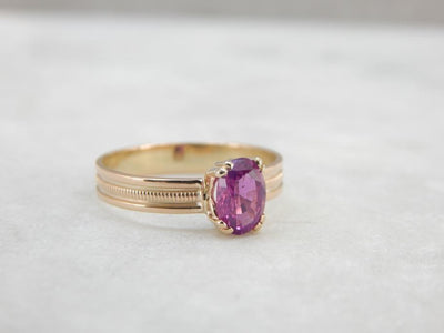 Fuscia Pink Sapphire and Simple Gold Band