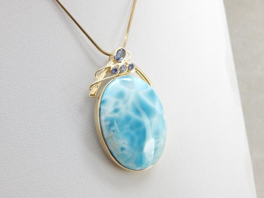 Handmade Caribbean Larimar Pendant, Artisan Pendant, Large Larimar and Tanzanite Necklace