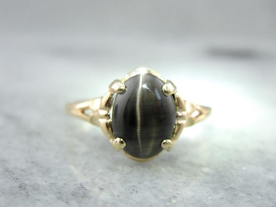 Cat's Eye Sillimanite Gemstone and Gold Ladies Ring