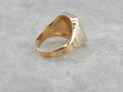 Stately Style Vintage Gold signet Ring
