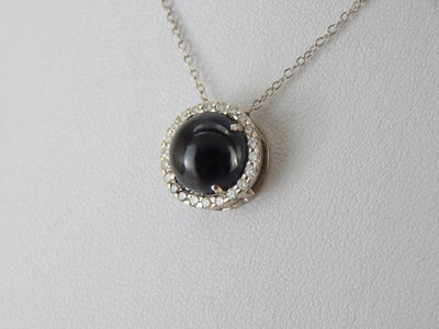 Cat's Eye Sillimanite and Art Deco Diamond Slide Pendant