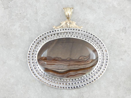 Rare Jasper and Handcrafted Sterling and Gold Pendant, Biggs Jasper from Oregon