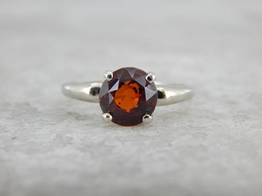Solitaire Hessonite Garnet Ring