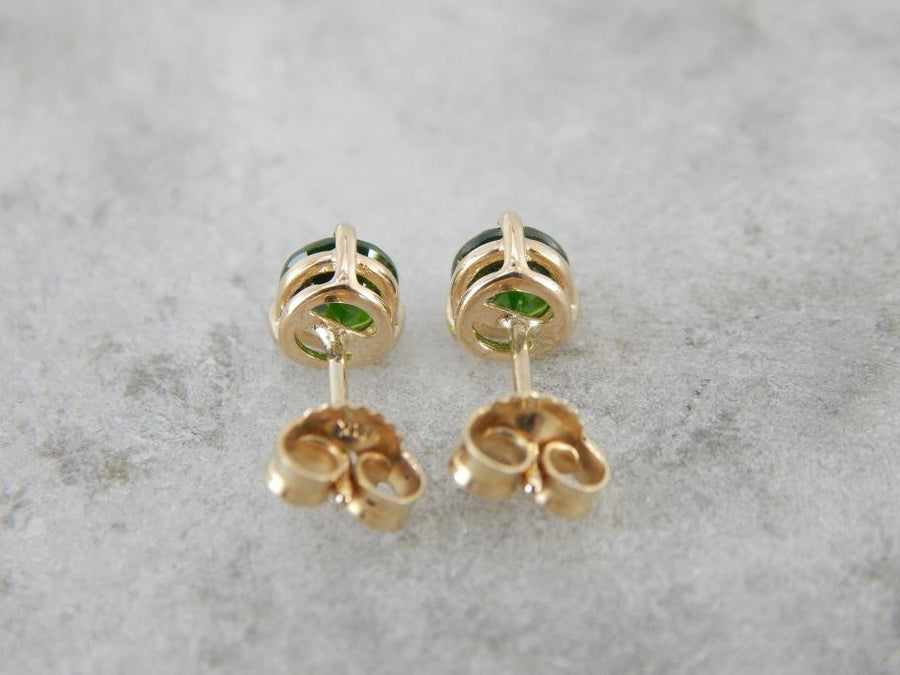 Deep Pine Green Demantoid Garnet Stud Earrings, Collectible Rare Gem